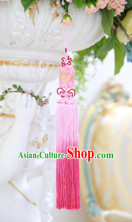 Asian Korean Hanbok Embroidered Pink Tassel Waist Decorations, Korean National Belts Accessories Wedding Bride Waist Pendant for Women