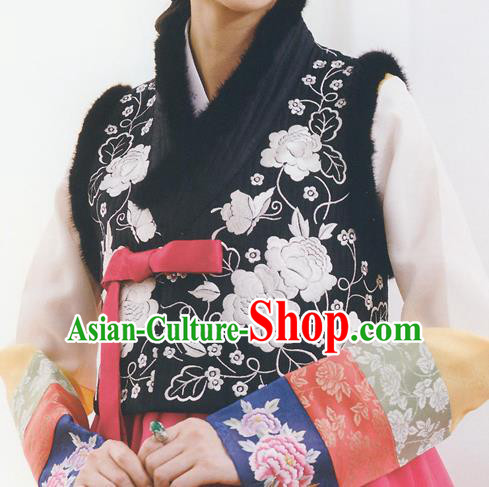 Asian Korean National Handmade Formal Occasions Wedding Bride Clothing Embroidered Black Vest Hanbok Costume for Women