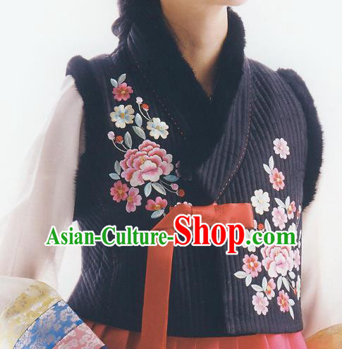 Asian Korean National Handmade Formal Occasions Wedding Bride Clothing Embroidered Black Waistcoat Hanbok Costume for Women