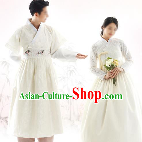 Korean National Handmade Formal Occasions Wedding Bride and Bridegroom Hanbok Embroidered White Costume Complete Set