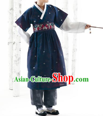 Korean National Handmade Formal Occasions Wedding Bridegroom Hanbok Embroidered Navy Costume Complete Set for Men