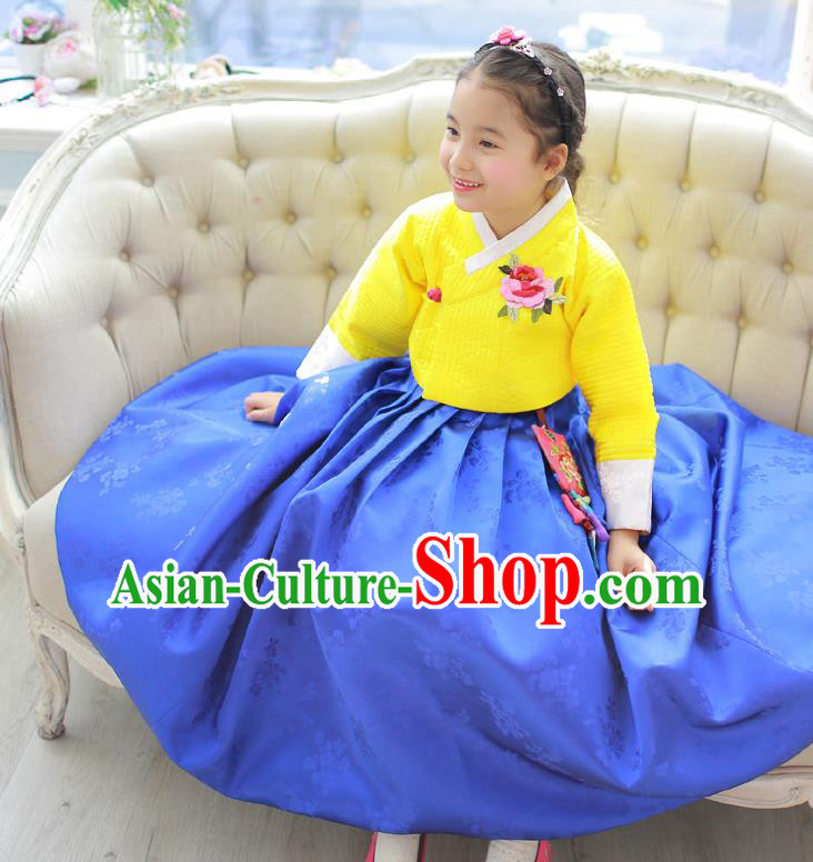 Korean National Handmade Formal Occasions Girls Hanbok Costume Embroidered Yellow Blouse and Blue Dress for Kids