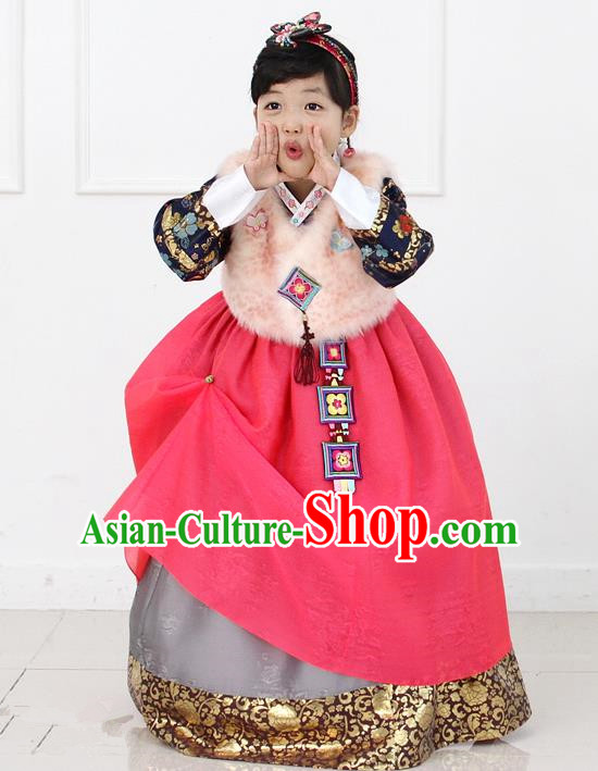 Korean National Handmade Formal Occasions Girls Hanbok Costume Embroidered Brown Vest and Red Dress for Kids