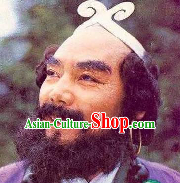 Chinese Ancient Journey to the West Monk Sha Beard, Traditional Chinese Beijing Opera Taoist Priest Mustache for Men