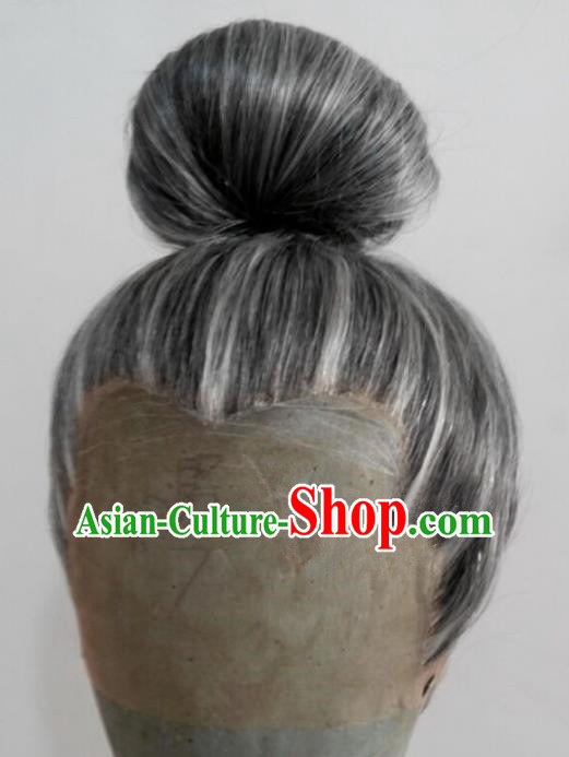 Chinese Ancient Opera Swordsman Black Wig, Traditional Chinese Beijing Opera Old Men Wig Sheath