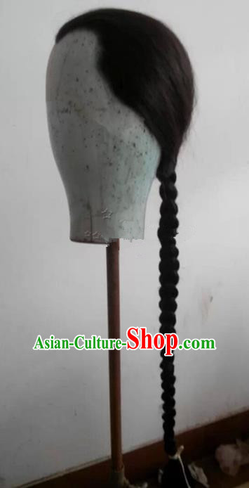 Chinese Ancient Opera Swordsman Qing Dynasty Prince Long Wig, Traditional Chinese Beijing Opera Young Men Wig Sheath
