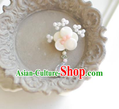 Korean National Accessories Girls White Begonia Pink Beads Brooch, Asian Korean Hanbok Fashion Bride Breastpin for Kids