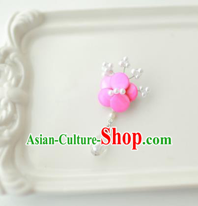 Korean National Accessories Girls Rosy Begonia Brooch, Asian Korean Hanbok Fashion Bride Breastpin for Kids