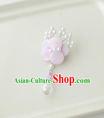 Korean National Accessories Girls Pink Begonia Brooch, Asian Korean Hanbok Fashion Bride Breastpin for Kids