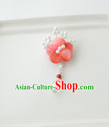 Korean National Accessories Girls Red Begonia Brooch, Asian Korean Hanbok Fashion Bride Breastpin for Kids