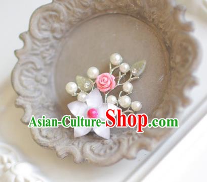 Korean National Accessories Girls Rosy Bead Flower Brooch, Asian Korean Hanbok Fashion Bride Breastpin for Kids