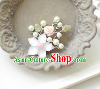 Korean National Accessories Girls Pink Bead Flower Brooch, Asian Korean Hanbok Fashion Bride Breastpin for Kids