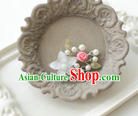 Korean National Accessories Girls White Bead Flower Brooch, Asian Korean Hanbok Fashion Bride Breastpin for Kids