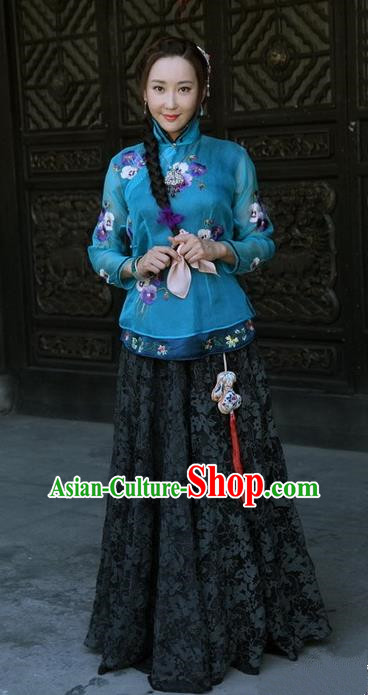 Traditional Chinese Qing Dynasty Nobility Young Mistress Xiuhe Clothing, China Ancient Manchu Lady Embroidered Costume for Women