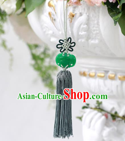 Asian Korean Hanbok Butterfly Green Jade Tassel Waist Decorations, Korean National Belts Accessories Wedding Bride Waist Pendant for Women