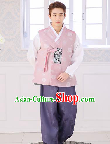 Asian Korean National Traditional Formal Occasions Wedding Bridegroom Embroidery Pink Vest Hanbok Costume Complete Set for Men