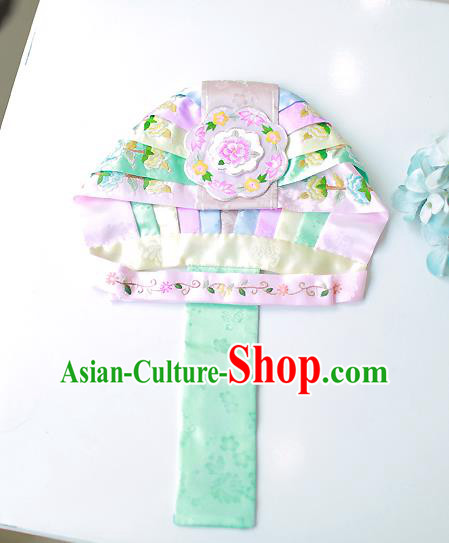 Asian Korean Hanbok Embroidered Hats, Korean National Accessories Wedding Bride Headwear for Kids
