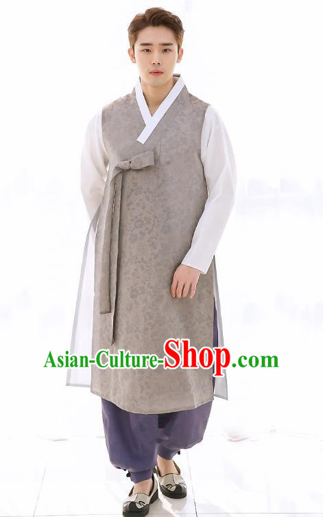 Asian Korean National Traditional Formal Occasions Wedding Bridegroom Embroidery Grey Long Vest Palace Hanbok Costume Complete Set for Men