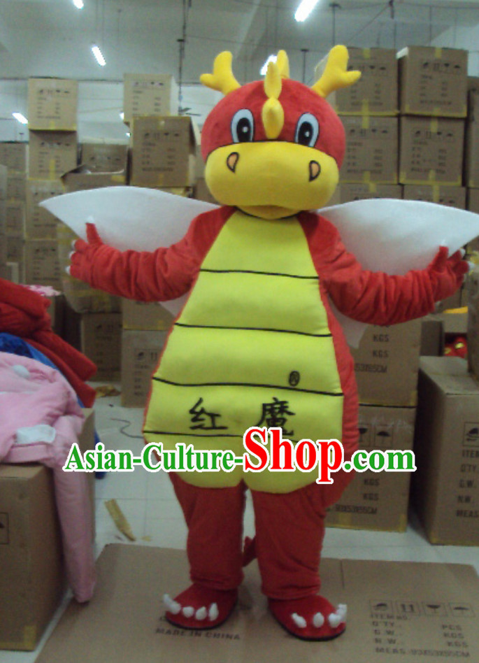 Professional Custom Mascot Uniforms Mascot Outfits Customized Cartoon Character Walking Lucky Red Dragon Mascot Costumes