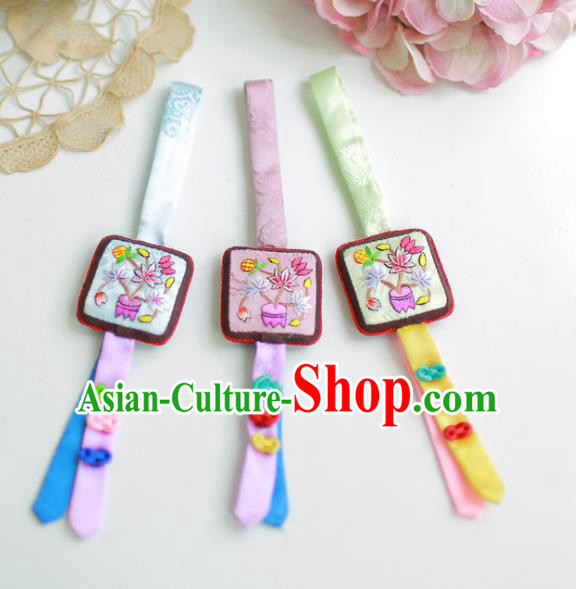Asian Korean Hanbok Embroidered Waist Decorations, Korean National Belts Accessories Wedding Bride Waist Pendant for Women