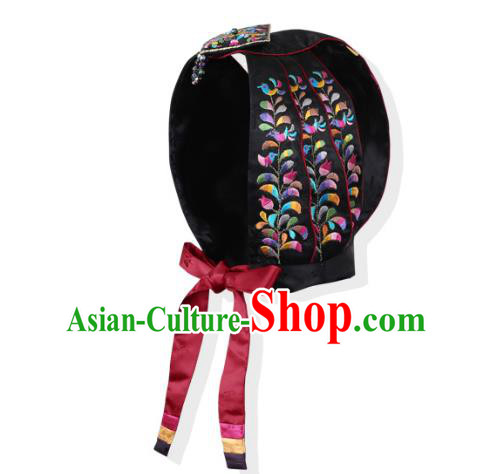Korean National Bride Hair Accessories Embroidered Black Hats, Asian Korean Hanbok Palace Headwear for Kids