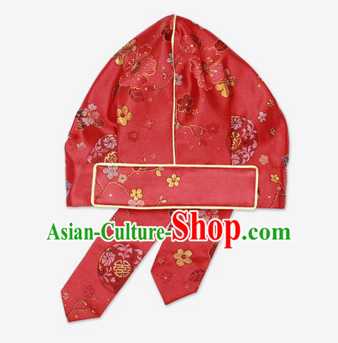 Traditional Korean Hair Accessories Embroidered Red Hats, Asian Korean Fashion Hanbok Headwear for Kids