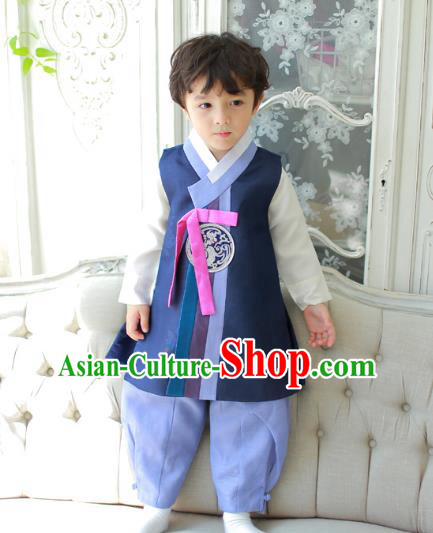Asian Korean National Traditional Handmade Formal Occasions Boys Navy Vest Hanbok Costume Complete Set for Kids