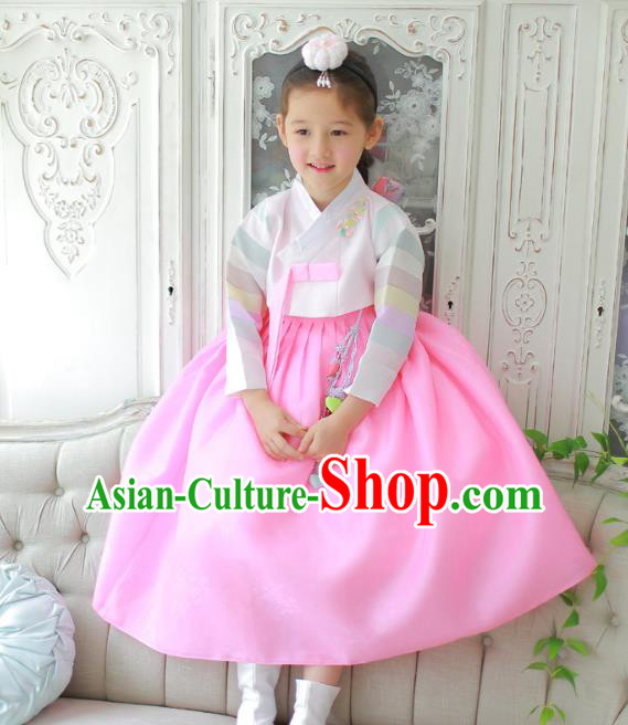 Traditional Korean National Handmade Formal Occasions Girls Clothing Palace Hanbok Costume Embroidered Pink Blouse and Pink Veil Dress for Kids