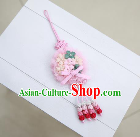 Asian Korean Hanbok Pink Flowers Tassel Waist Decorations, Korean National Belts Accessories Wedding Bride Waist Pendant for Women