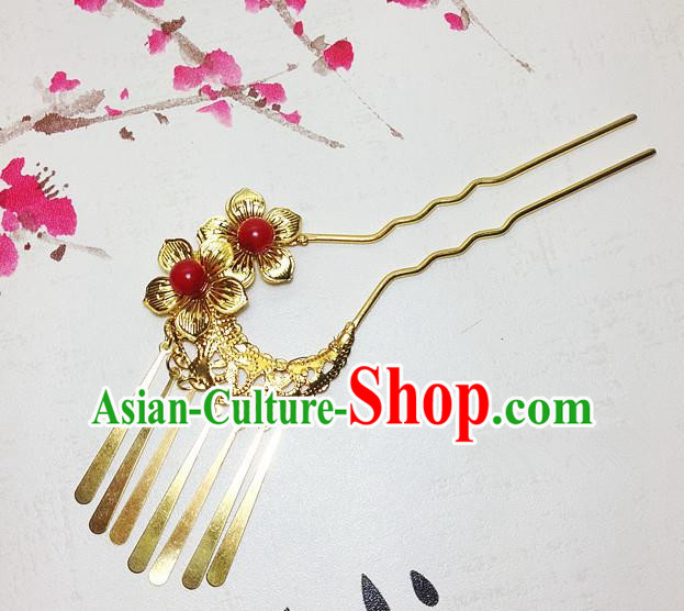 Traditional Chinese Ancient Classical Hair Accessories Golden Hair Clip Bride Tassel Step Shake Hairpins for Women