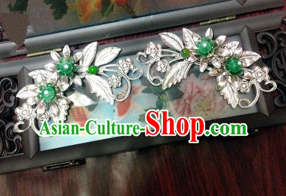 Traditional Chinese Ancient Classical Hair Accessories Green Beads Hair Stick Bride Hairpins for Women