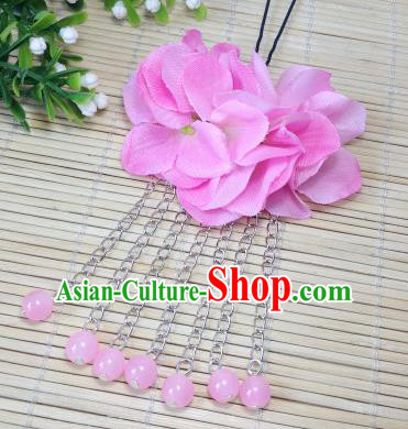 Traditional Chinese Ancient Classical Hair Accessories Pink Flowers Beads Tassel Step Shake Bride Hairpins for Women