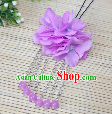 Traditional Chinese Ancient Classical Hair Accessories Lilac Flowers Beads Tassel Step Shake Bride Hairpins for Women
