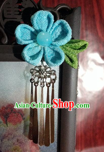 Traditional Chinese Ancient Classical Hair Accessories Blue Flower Tassel Step Shake Bride Hairpins for Women