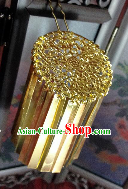 Traditional Chinese Ancient Classical Hair Accessories Golden Tassel Hair Clip Step Shake Bride Hairpins for Women