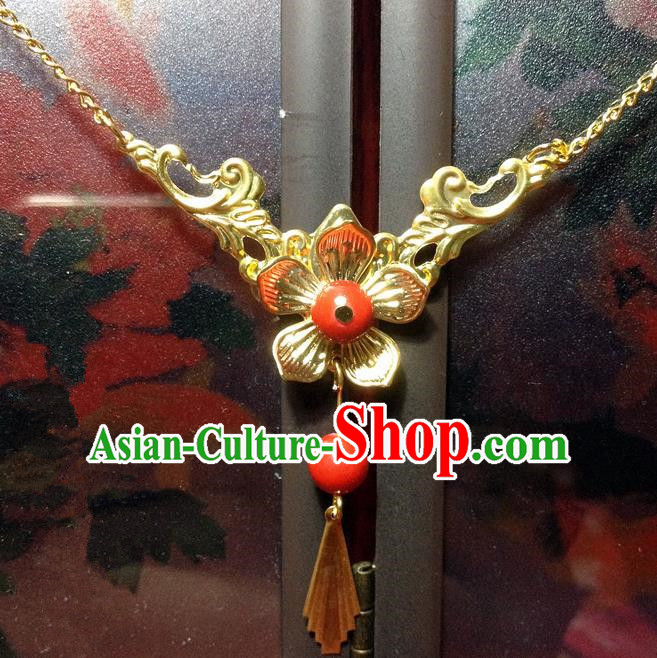Traditional Chinese Ancient Classical Hair Accessories Tassel Eyebrows Pendant Hanfu Golden Forehead Ornament Step Shake Bride Hairpins for Women