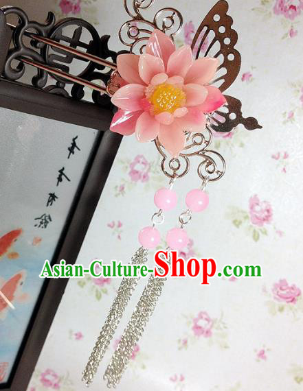 Traditional Chinese Ancient Classical Hair Accessories Hanfu Pink Flower Hair Clip Tassel Step Shake Bride Hairpins for Women