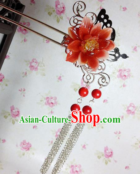 Traditional Chinese Ancient Classical Hair Accessories Hanfu Red Flower Hair Clip Tassel Step Shake Bride Hairpins for Women