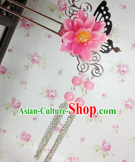 Traditional Chinese Ancient Classical Hair Accessories Hanfu Peach Pink Flower Hair Clip Tassel Step Shake Bride Hairpins for Women