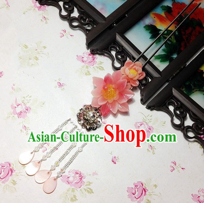 Traditional Chinese Ancient Classical Hair Accessories Hanfu Pink Shell Hair Clip Tassel Step Shake Bride Hairpins for Women