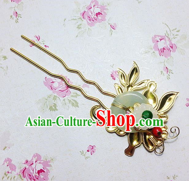 Traditional Chinese Ancient Classical Hair Accessories Hanfu Jade Hair Clip Step Shake Bride Hairpins for Women