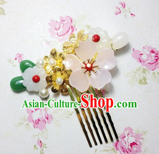Traditional Chinese Ancient Classical Hair Accessories Hanfu Hair Comb Step Shake Bride Hairpins for Women