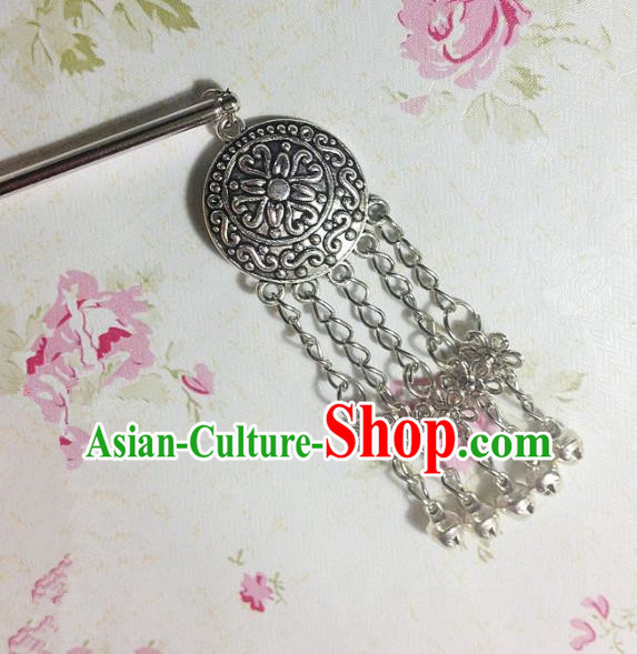 Traditional Chinese Ancient Classical Hair Accessories Hanfu Bells Tassel Hair Clip Step Shake Bride Hairpins for Women