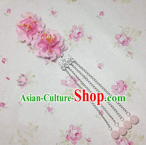 Traditional Chinese Ancient Classical Hair Accessories Hanfu Pink Flowers Tassel Step Shake Bride Hairpins for Women