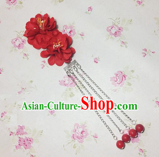 Traditional Chinese Ancient Classical Hair Accessories Hanfu Red Flowers Tassel Step Shake Bride Hairpins for Women