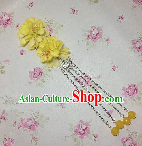 Traditional Chinese Ancient Classical Hair Accessories Hanfu Yellow Flowers Tassel Step Shake Bride Hairpins for Women