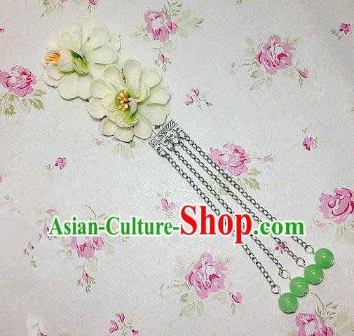 Traditional Chinese Ancient Classical Hair Accessories Hanfu Green Flowers Tassel Step Shake Bride Hairpins for Women