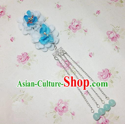 Traditional Chinese Ancient Classical Hair Accessories Hanfu Blue Flowers Tassel Step Shake Bride Hairpins for Women