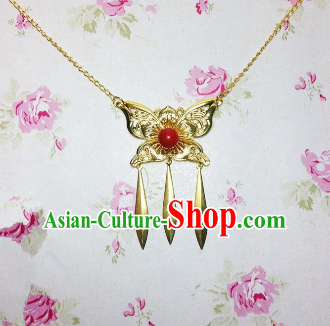 Traditional Chinese Ancient Classical Hair Accessories Hanfu Golden Butterfly Tassel Forehead Ornament Step Shake Bride Hairpins for Women