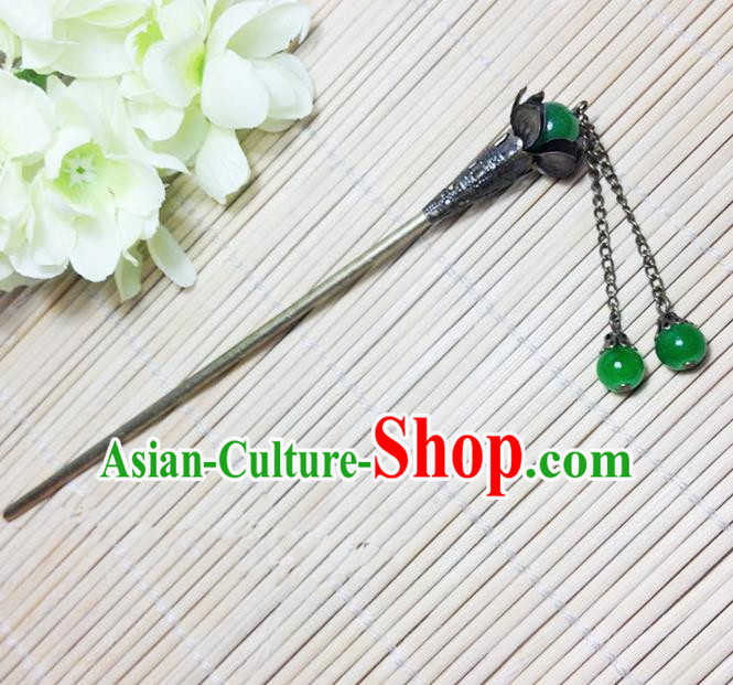 Traditional Chinese Ancient Classical Hair Accessories Hanfu Green Beads Hair Clip Tassel Step Shake Hairpins for Women